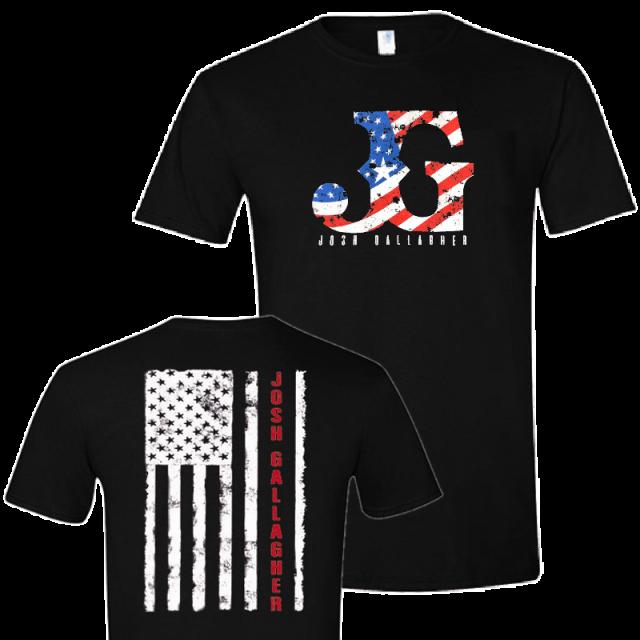 Josh Gallagher Black Logo Tee w/ Flag
